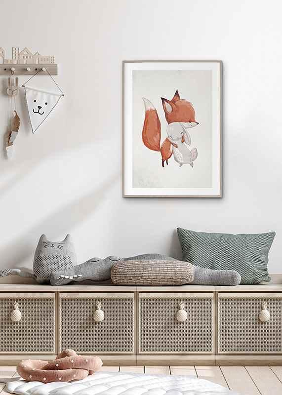 Watercolor Fox And Bunny-4