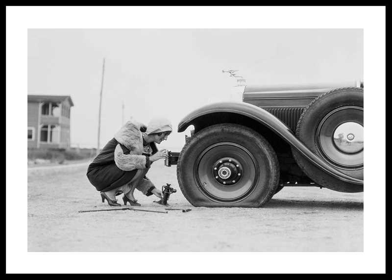Old Car Flat Tire-0