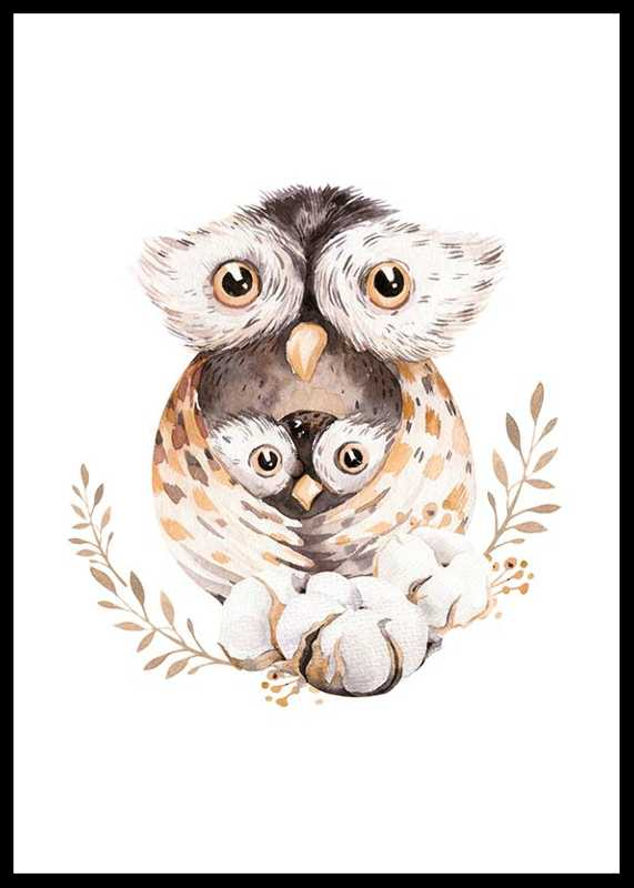 Watercolor Owl Family-0