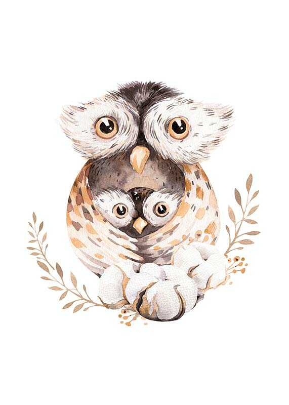 Watercolor Owl Family-1